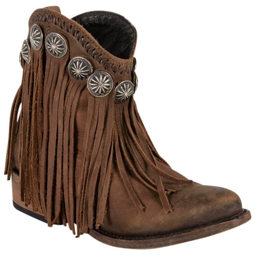 Liberty Black Womens Vegas T- Moro Ankle Fringe Boots