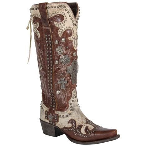 Double D Ranch Womens Ammunition Studs Bone Brown Western Boots
