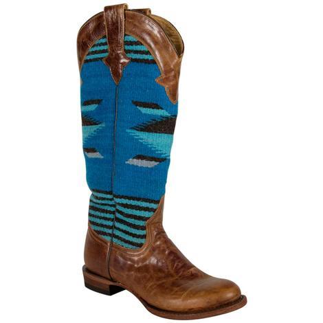 Stetson Womens Serape Tan Blue Boots