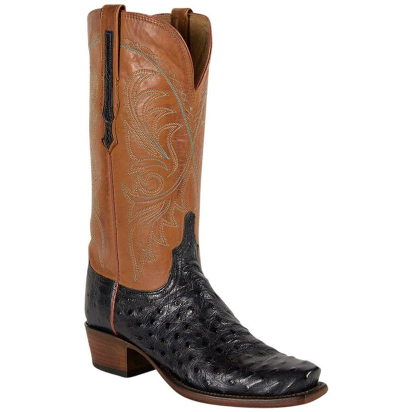 Lucchese Womens Navy Cognac Full Quill Ostrich Leather Western Boots