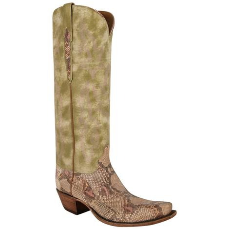 Lucchese Classics Womens Mossy Green Exotic Python Western Boots