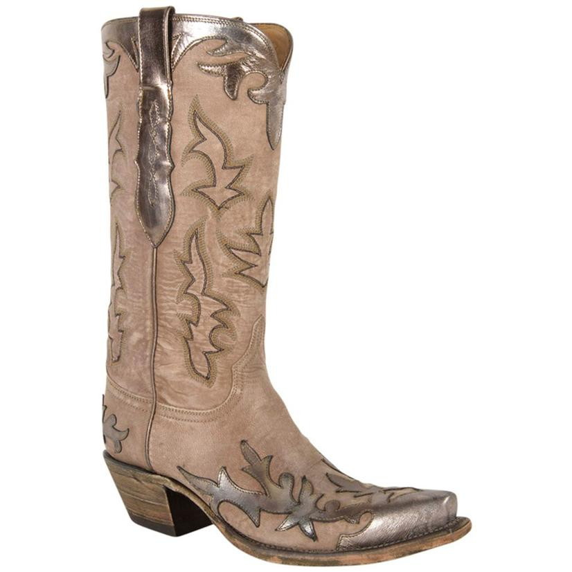 Lucchese Womens Golden Silver Mink Goat Cowgirl Boots