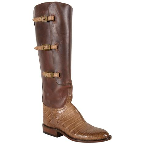 Lucchese Classics Womens Belted Light Tan Caiman Belly Cowboy Boots