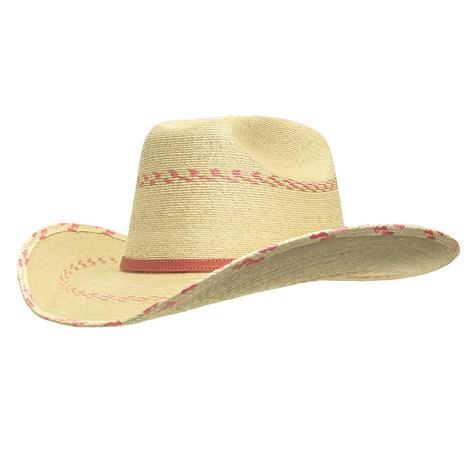 Rodeo King Aztec Open Crown Natural Straw Hat 4 25 Brim