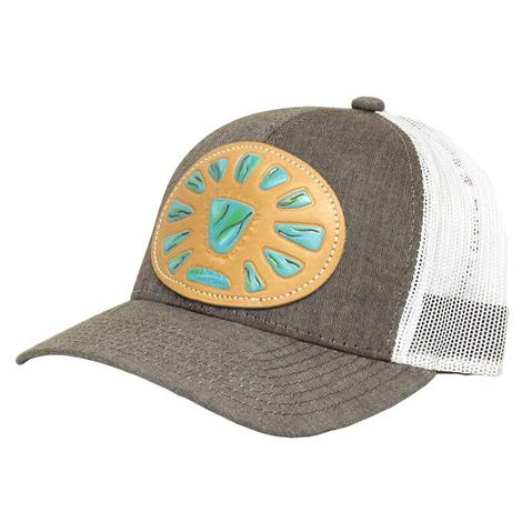 STT Heather Brown Turquoise Stone Patch Mesh Back Cap