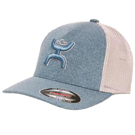 Hooey Coach Light Blue & Grey Youth Flexfit Ball Cap