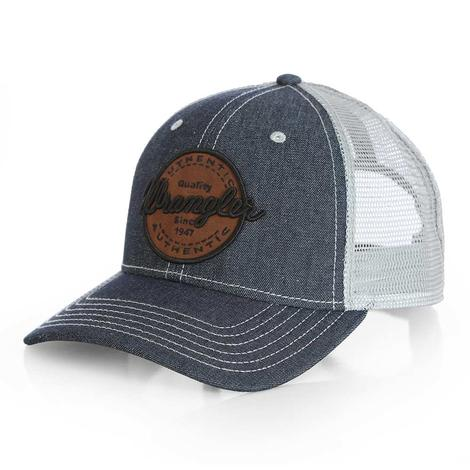 Wrangler Mens Circular Logo Denim Trucker Cap