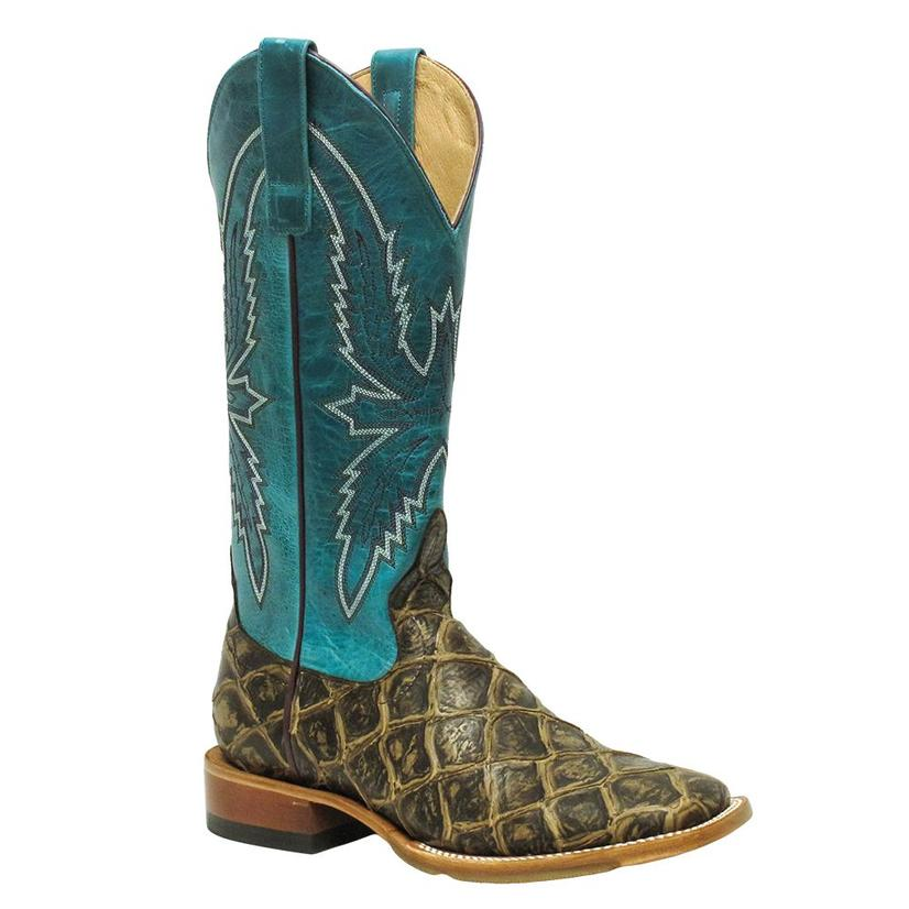 Macie Bean Womens Reely Good Time Turquoise Bass Print Boots