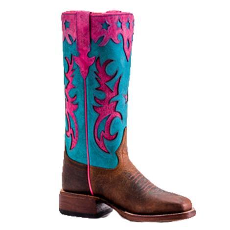 Macie Bean Girls Bone Mad Dog Turquoise Sinsation Cowboy Boots