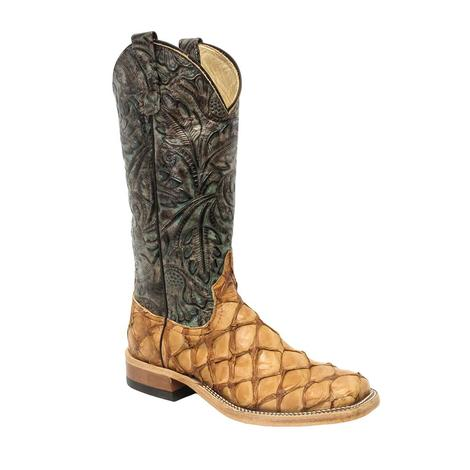Anderson Bean Womens Rum Brown Bass Turquoise Western Boots