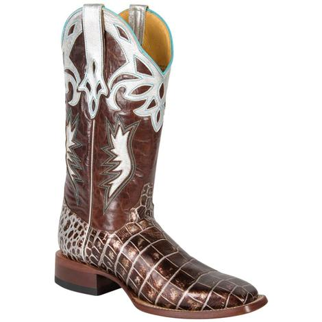 Cinch Womens Cowboy Square Sizzle Crocodile Western Boots