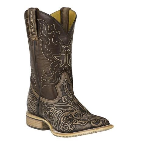 Tin Haul Mens Tooled Skull Square Toe Boots