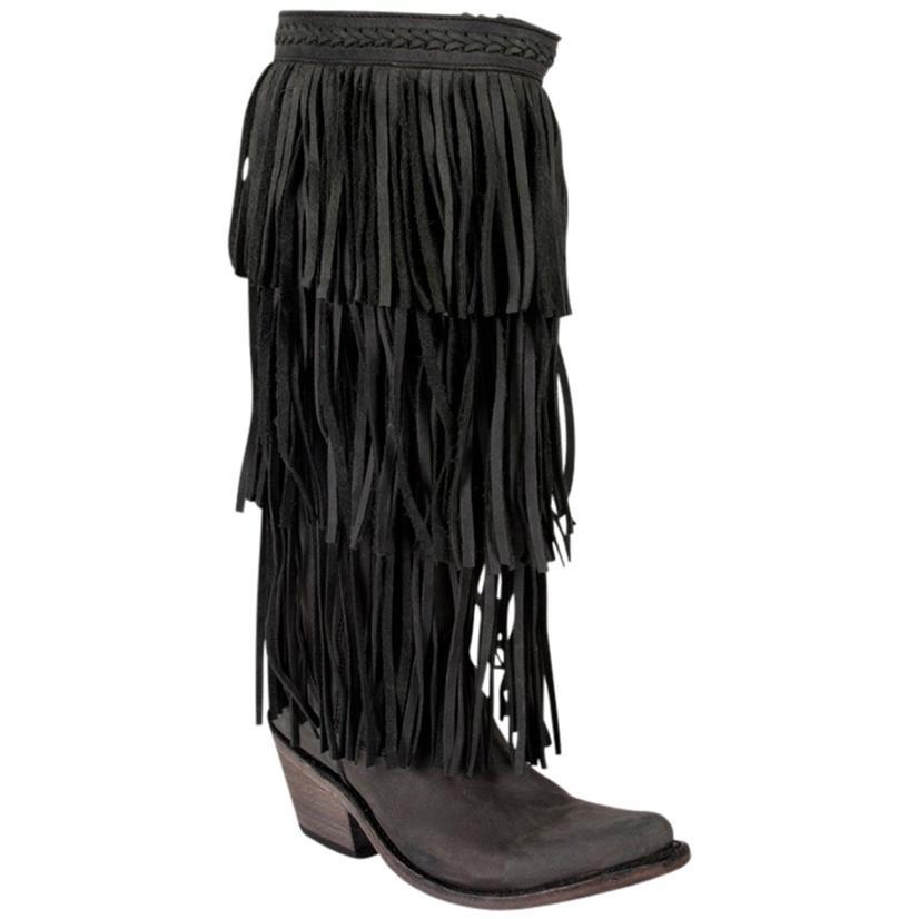 Liberty Black Womens Black 3 Tier Fringe Western Boots