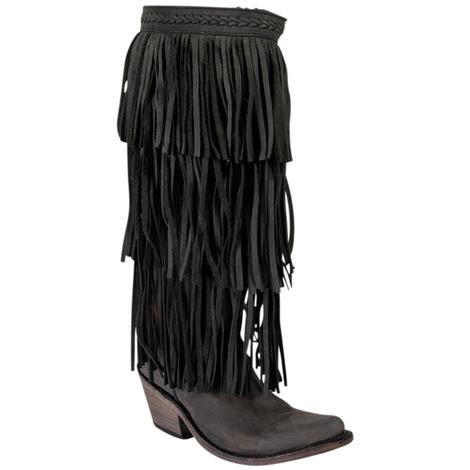 Liberty Black Womens Black 3 Tier Fringe Western Boots