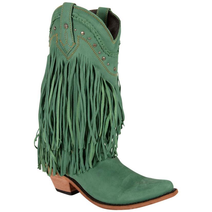 Liberty Black Womens Bovine Leather Fringe Boots