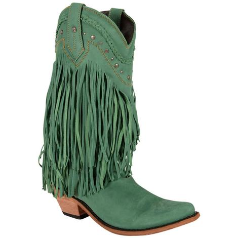 Liberty Black Womens Bovine Leather Fringe Boots
