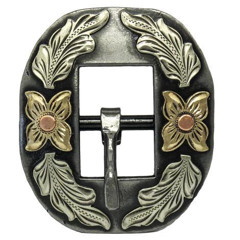 STT Oval Cart Buckle with Floral Silver