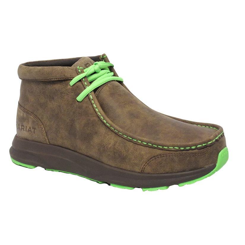 Ariat Mens Spitfire Brown & Lime Bomber Shoe