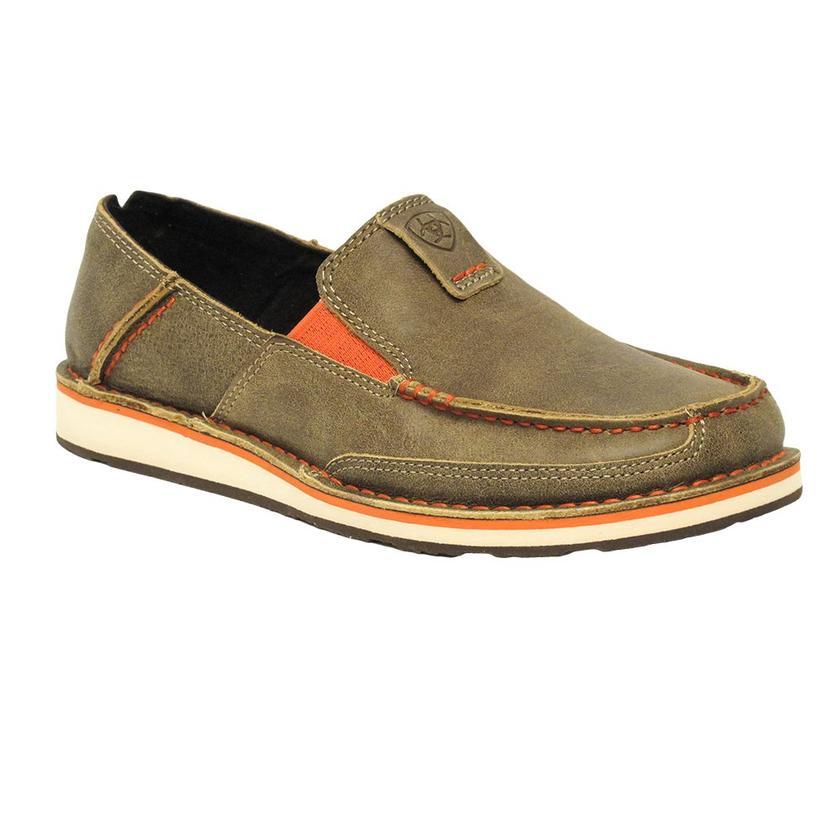 Ariat Mens Brown Bomber W/Neon Orange Cruiser Shoe