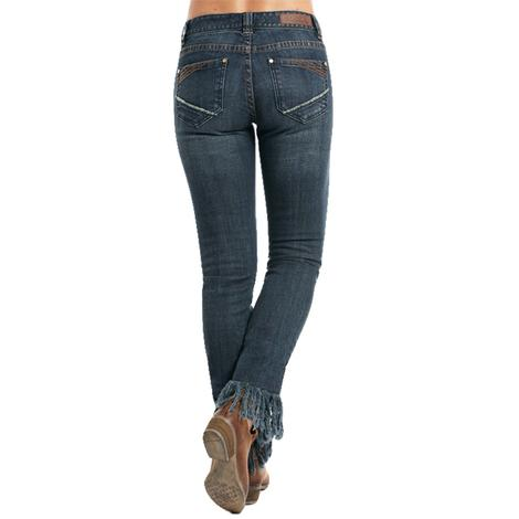 Rock and Roll Cowgirl Womens Dark Vintage Mid Rise Fringe Skinny Jeans