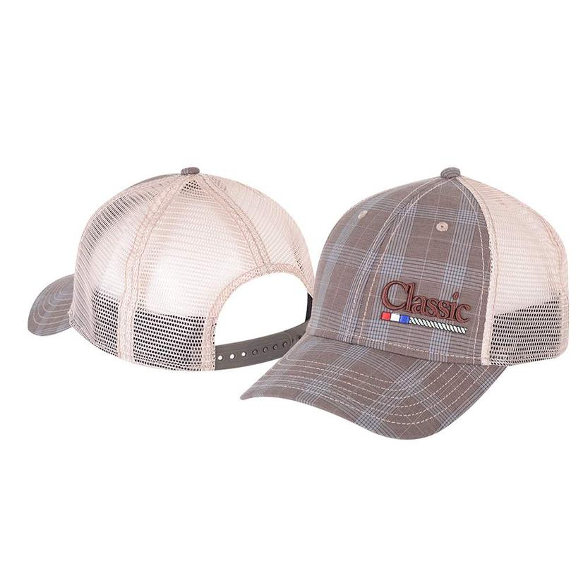 Classic Rope Grey Plaid Mesh Back Cap