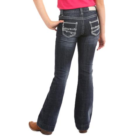 Rock & Roll Cowgirl Girls Diamond Stitched Dark Vintage Trouser Jeans