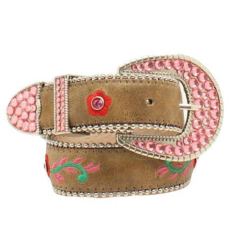 Nocona Blazin Roxx Kids Floral Embroidered Tan Leather Brown Belt