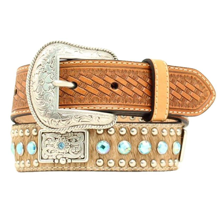 Nocona Kid's White Calfhair And Turquosie Rhinestone Belt