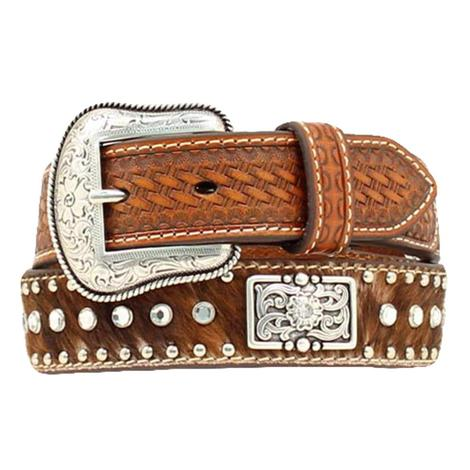 Nocona Kid's Brown Basketweave Leather Calf Hair On Western Belt