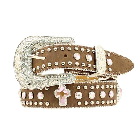 Nocona Kid's Brown Leather Pink Rhinestone Cross Belt