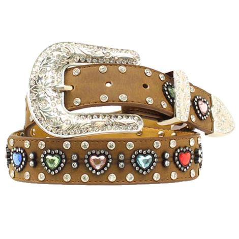 Nocona Kid's Rhinestone Heart Brown Belt