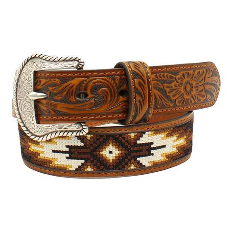 Nocona Kid's Tooled Brown Beaded Leather Belt