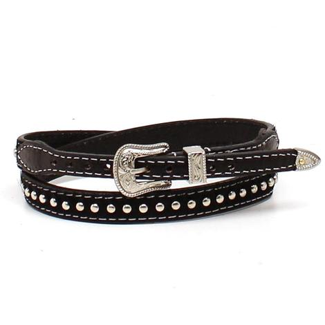 Black Leather Cow Hair On Silver Plated Nailheads Hat Band