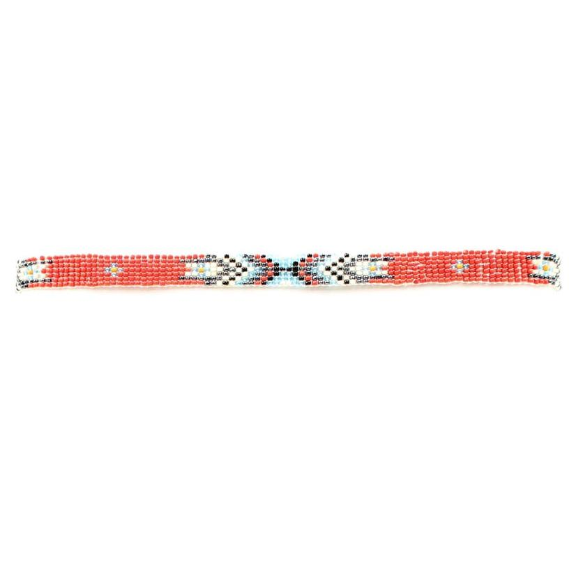 M & F Western Red Beaded Indian Hat Band