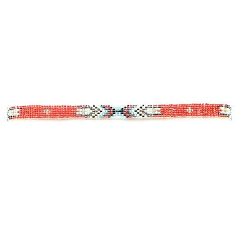 M&F Western Red Beaded Indian Hat Band