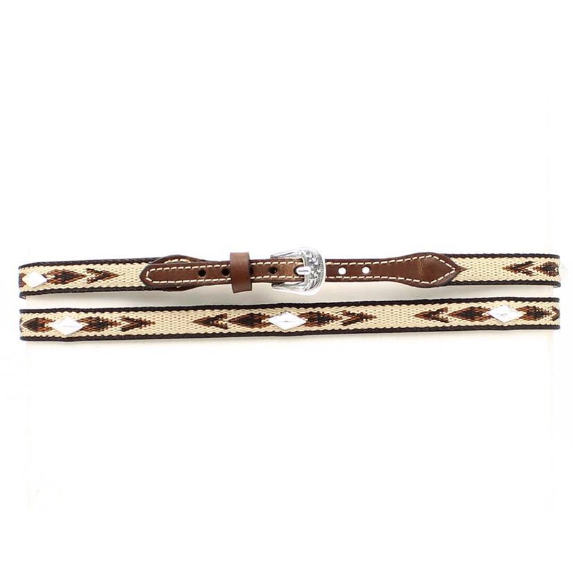 Brown Leather Ribbon Diamond Shaped Conchos Hatband