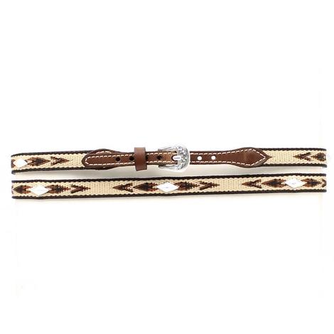Brown Leather Ribbon Diamond Shaped Conchos Hatband