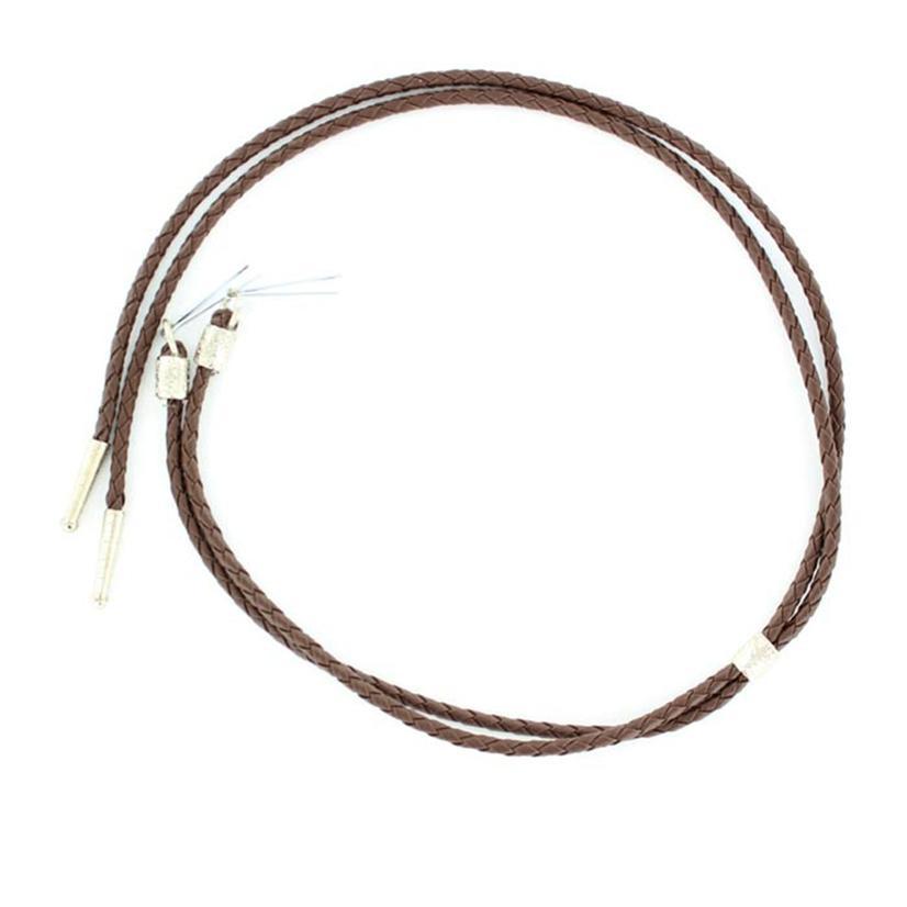 Black or Brown Braided Leather Stampede String BROWN