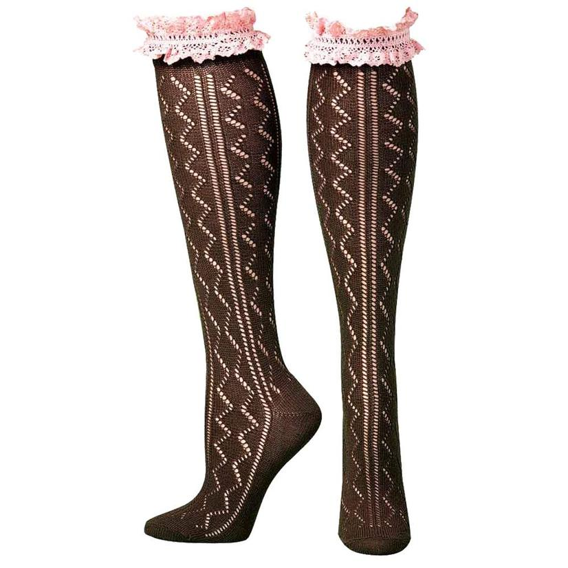 Brown And Pink Knee Length Lacy Socks