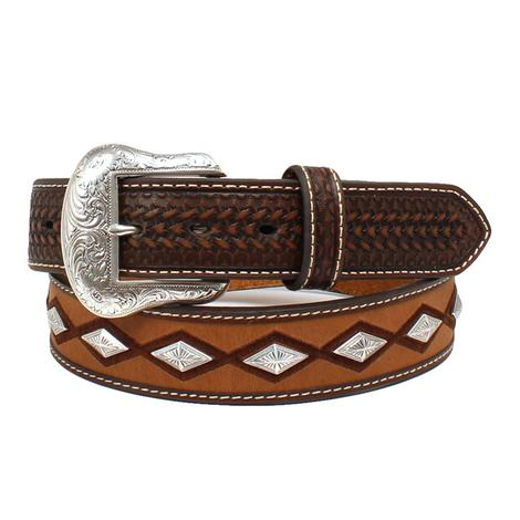 Brown Mens 1.5 Inch Diamond Pattern Western Belt
