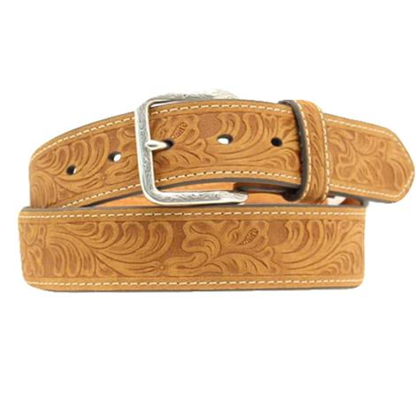 Medium Brown Mens Floral Scrolled Belt