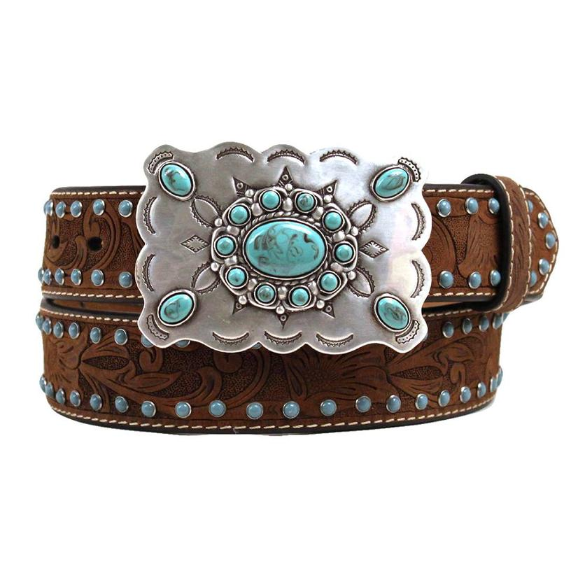 Silver And Turquoise Buckle Brown & Turquoise Tooled Belt