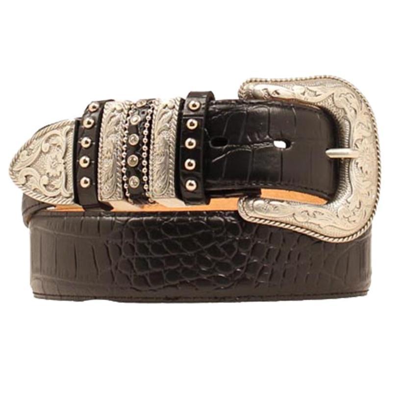 Nocona Womens Leather Croco Gator Black Western Belt