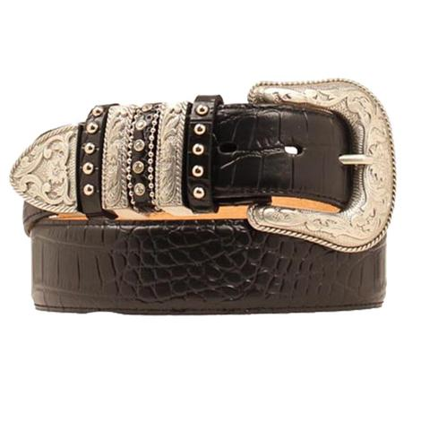 Nocona Womens Leather Croco Gator Black Western Belt
