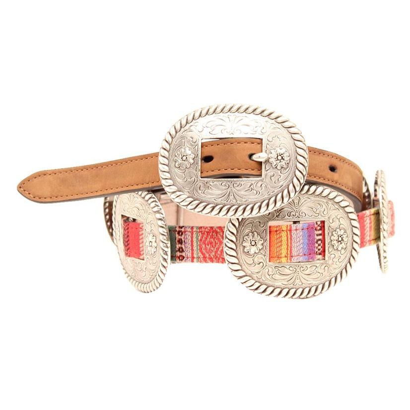 Serape And Silver Concho Womens Leather Belt