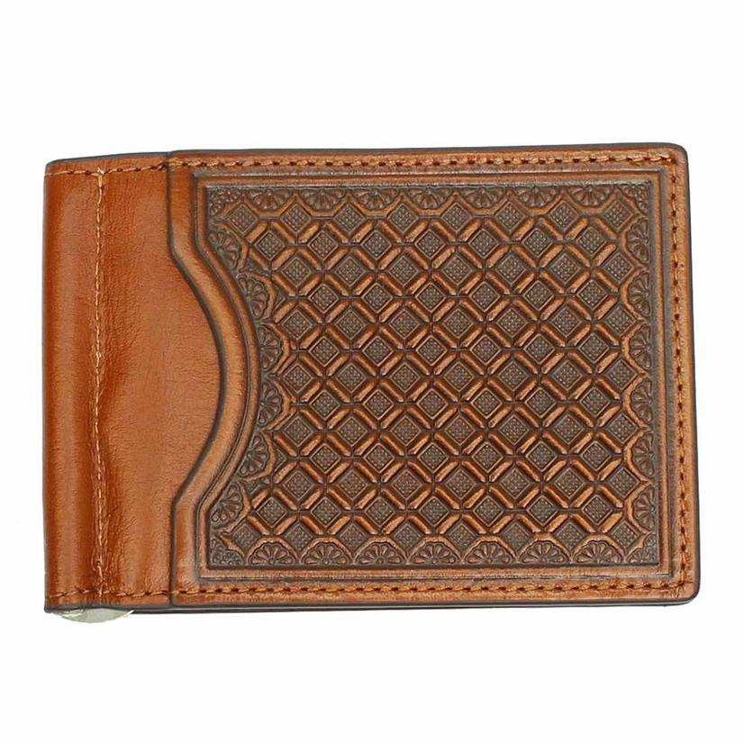 Brown Check Tooled Bifold Money Clip