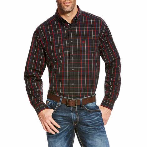 Ariat Black Mens Red White Blue Plaid Long Sleeve Button Down Shirt