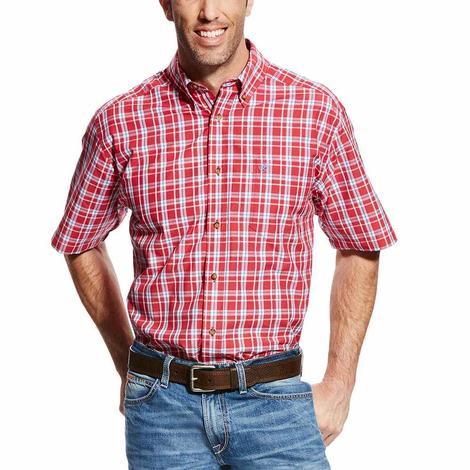 Ariat Mens Cedric Red Plaid Short Sleeve Performance Shirt