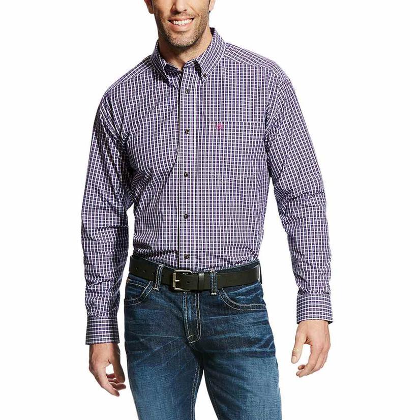 Ariat Mens Pro Series Elkhart Pink & Purple Plaid Western Shirt