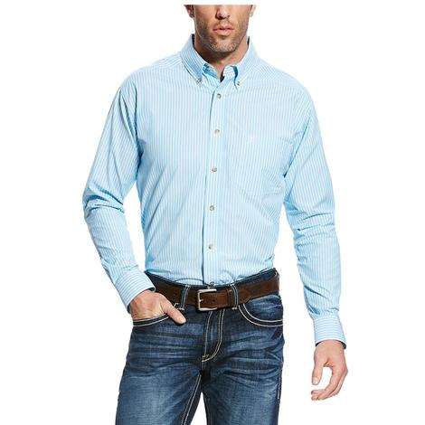 Ariat Mens Pro Series Griffith Blue and White Stripe Western Shirt